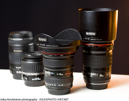 Canon EF 135mm f/2L USM and Canon EF 17-40mm f/4L USM. Photo by Julius Koivistoinen